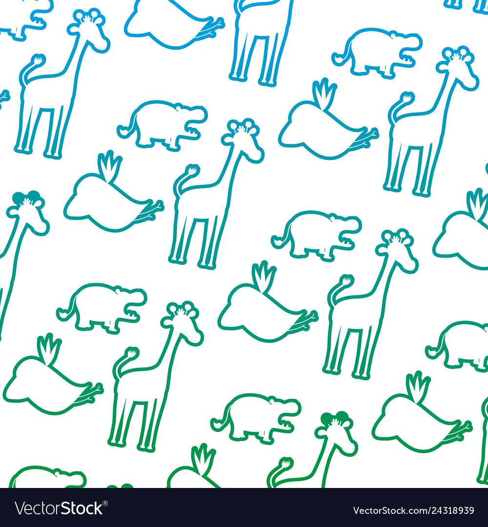Degraded line silhouette wild animal safari