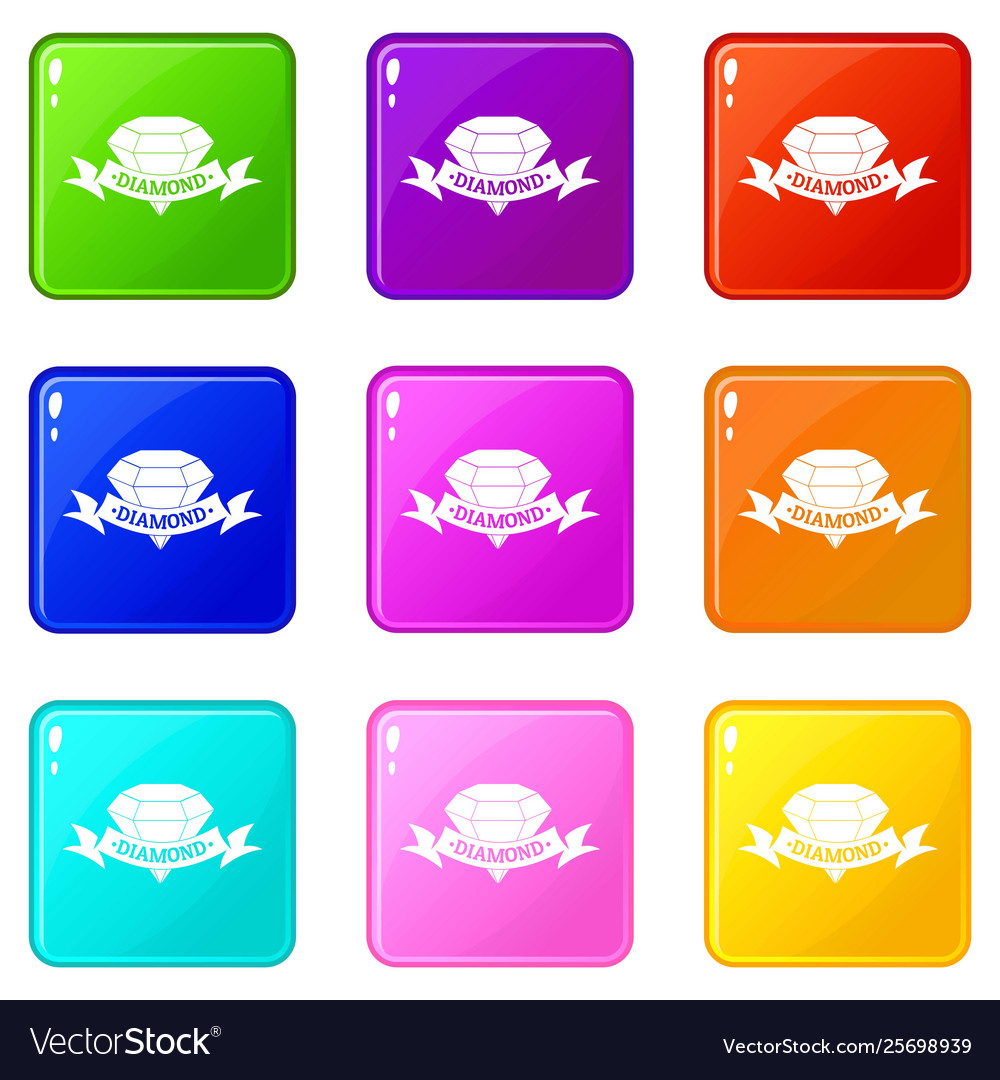 Diamond icons set 9 color collection