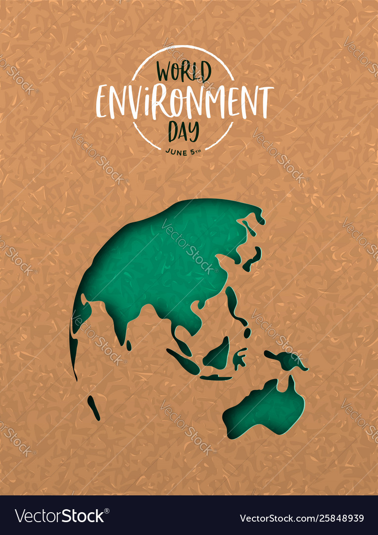Environment day card green cutout earth map