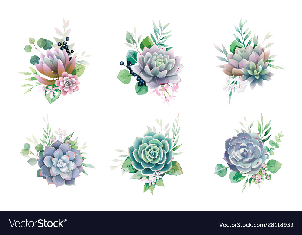 Greenery and succulent bouquets for wedding card