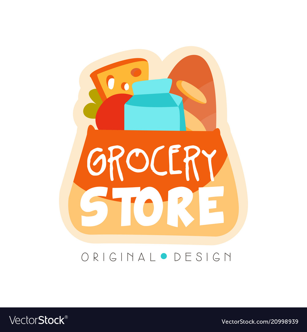Grocery store logo design template fresh food