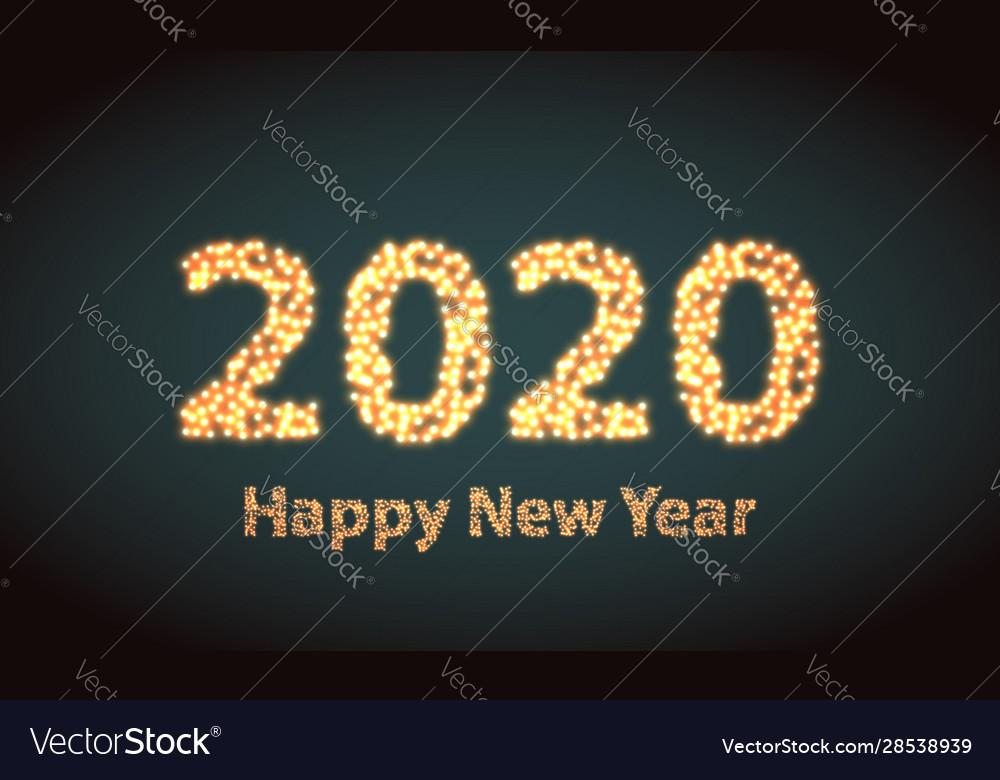 Happy new year 2020 creative greeting card or logo
