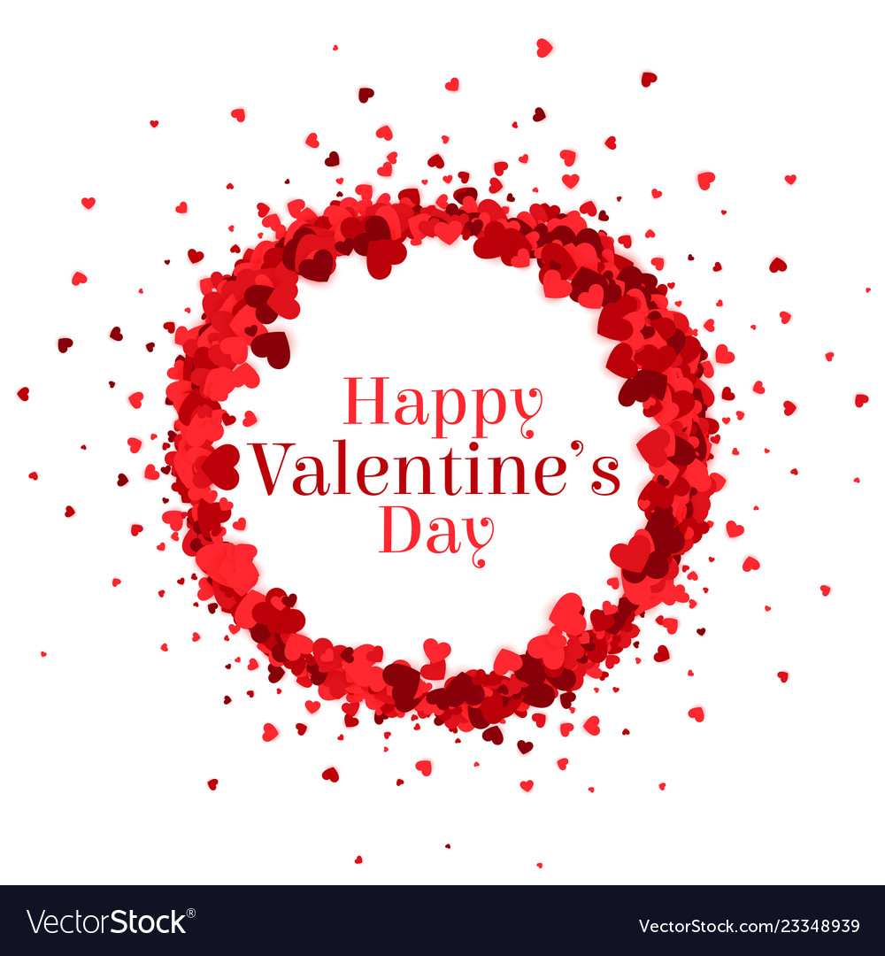 Happy Valentines Day Hearts Frame Background Vector Image
