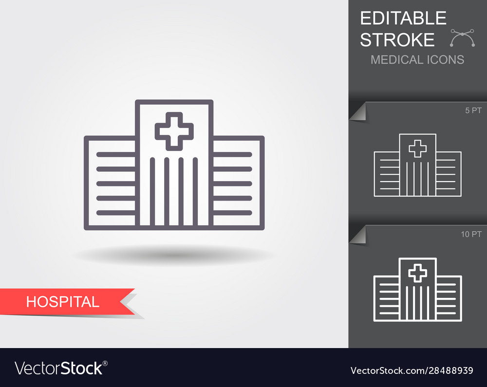 Hospital line icon with editable stroke