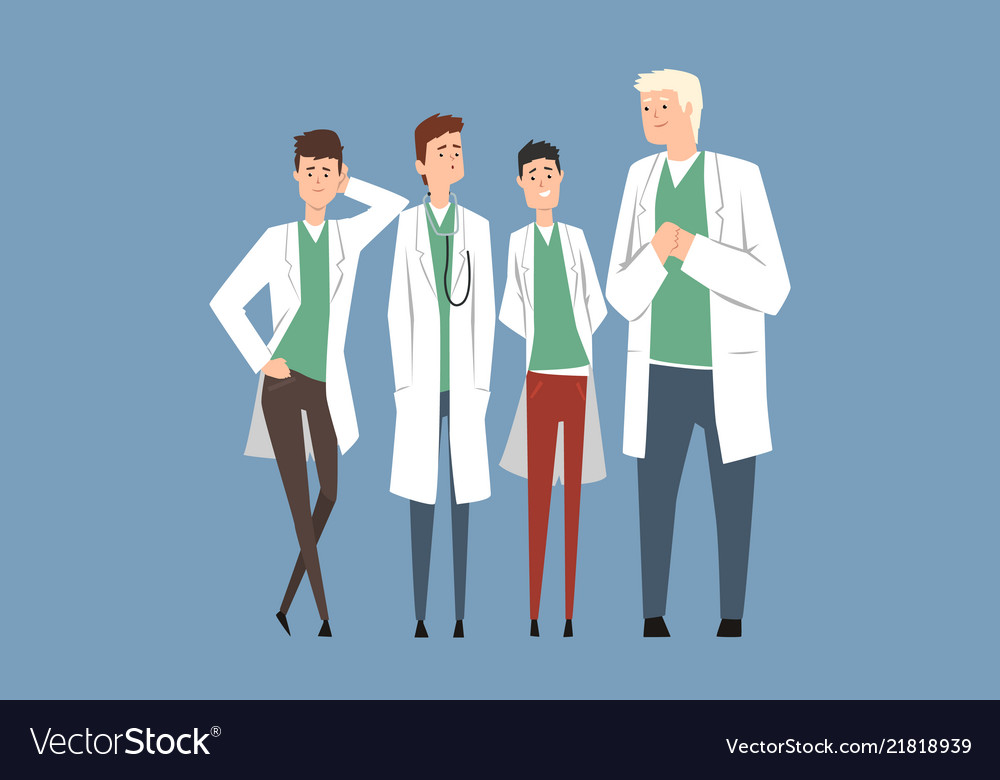 Hospital medical staff doctors team flat men