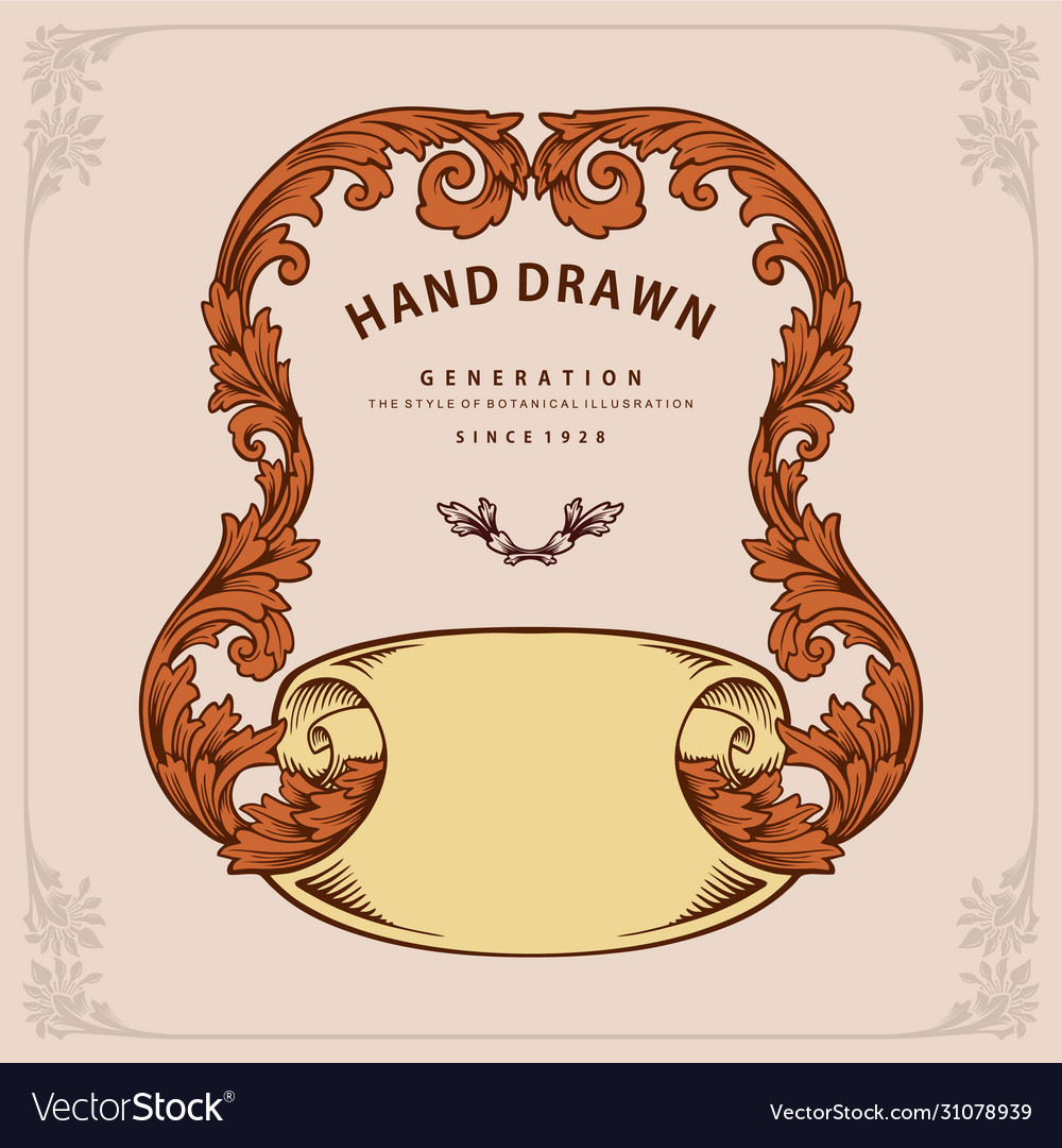 Label ornate swirls frame and ribbon design