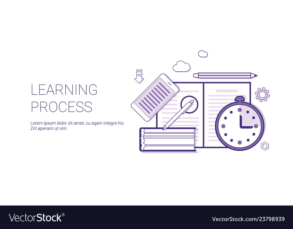 Learning process education concept banner with