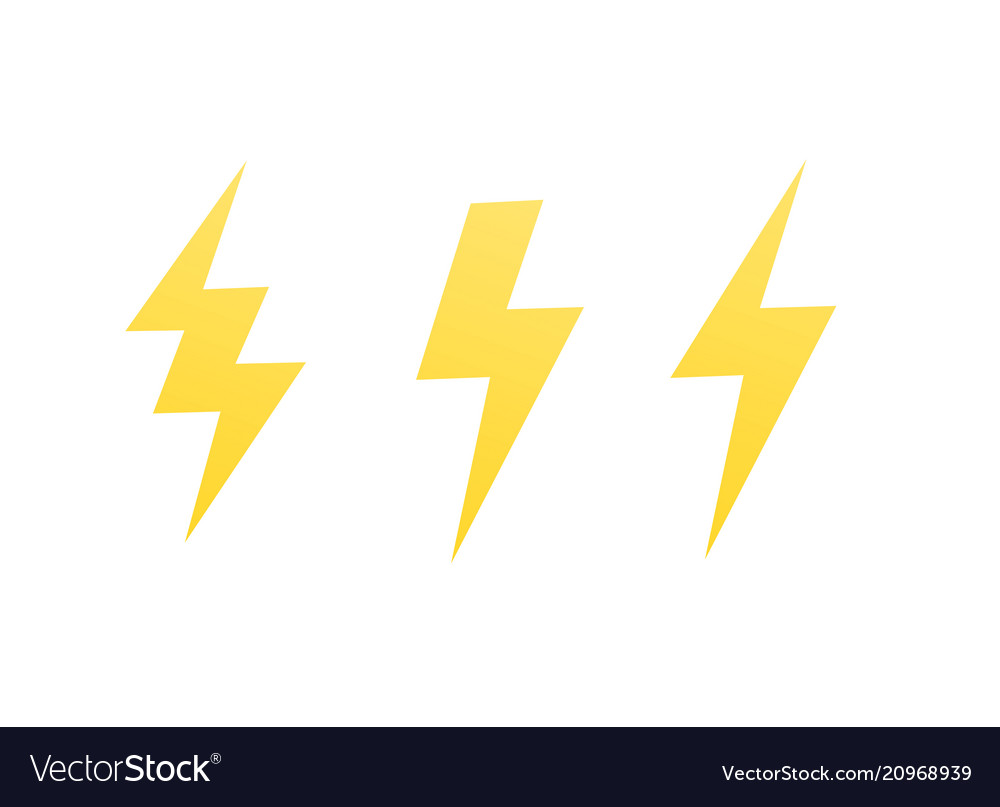 Lightning bolts signs on white