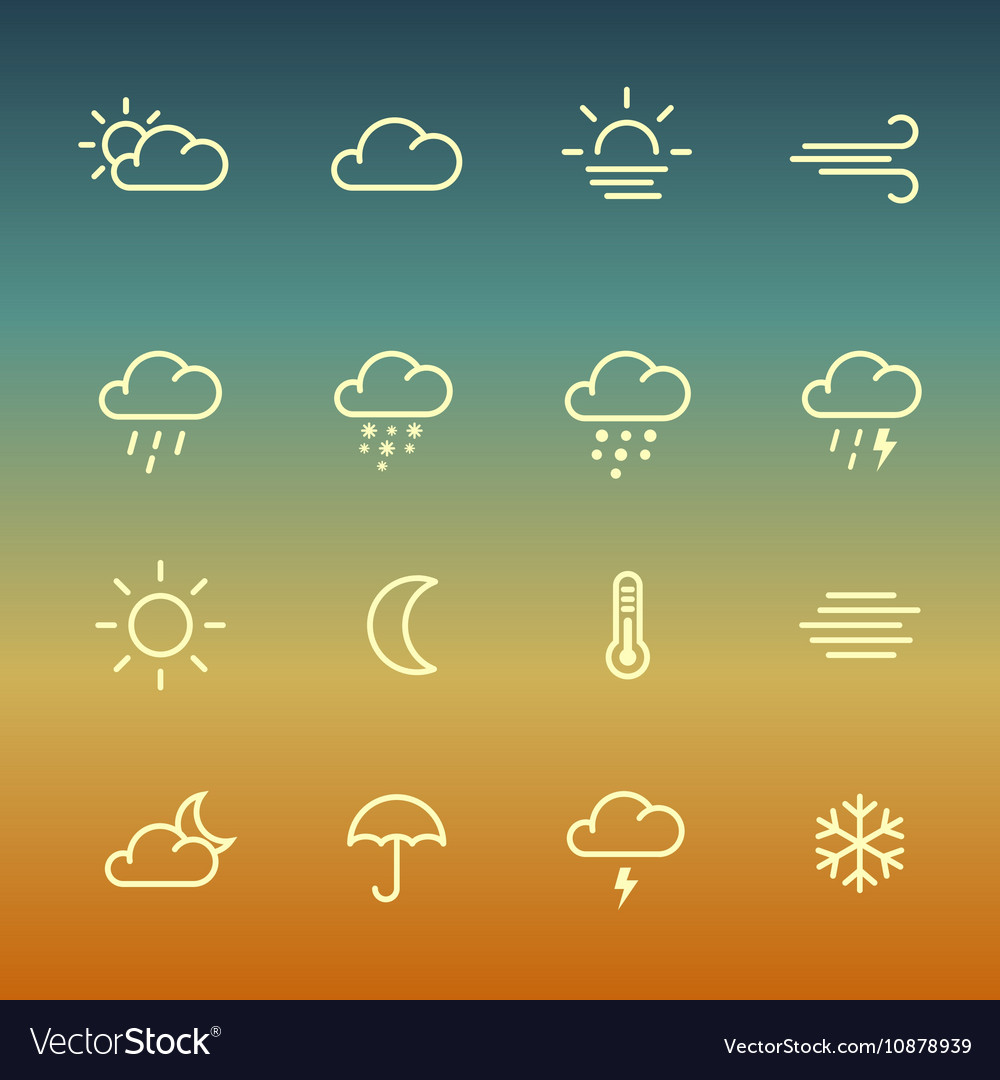 Lines weather forcast Icon set on gradient