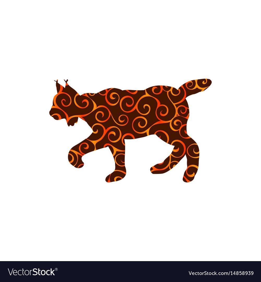 lynx wildlife color silhouette animal royalty free vector