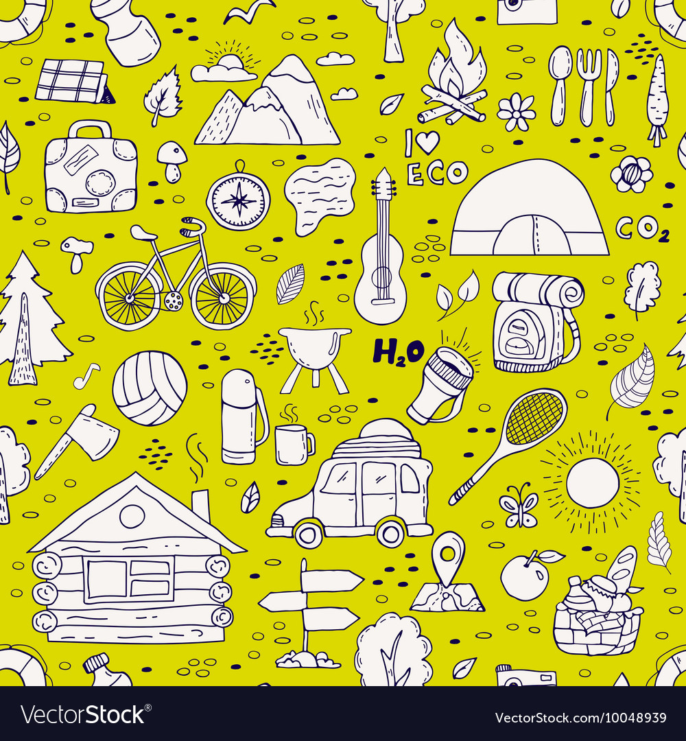 Seamless pattern of camping equipment symbols