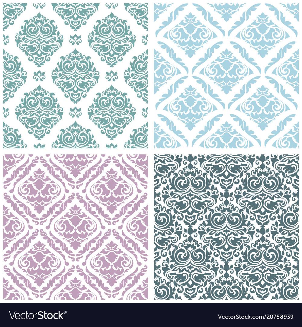 Set damask floral seamless pattern vintage