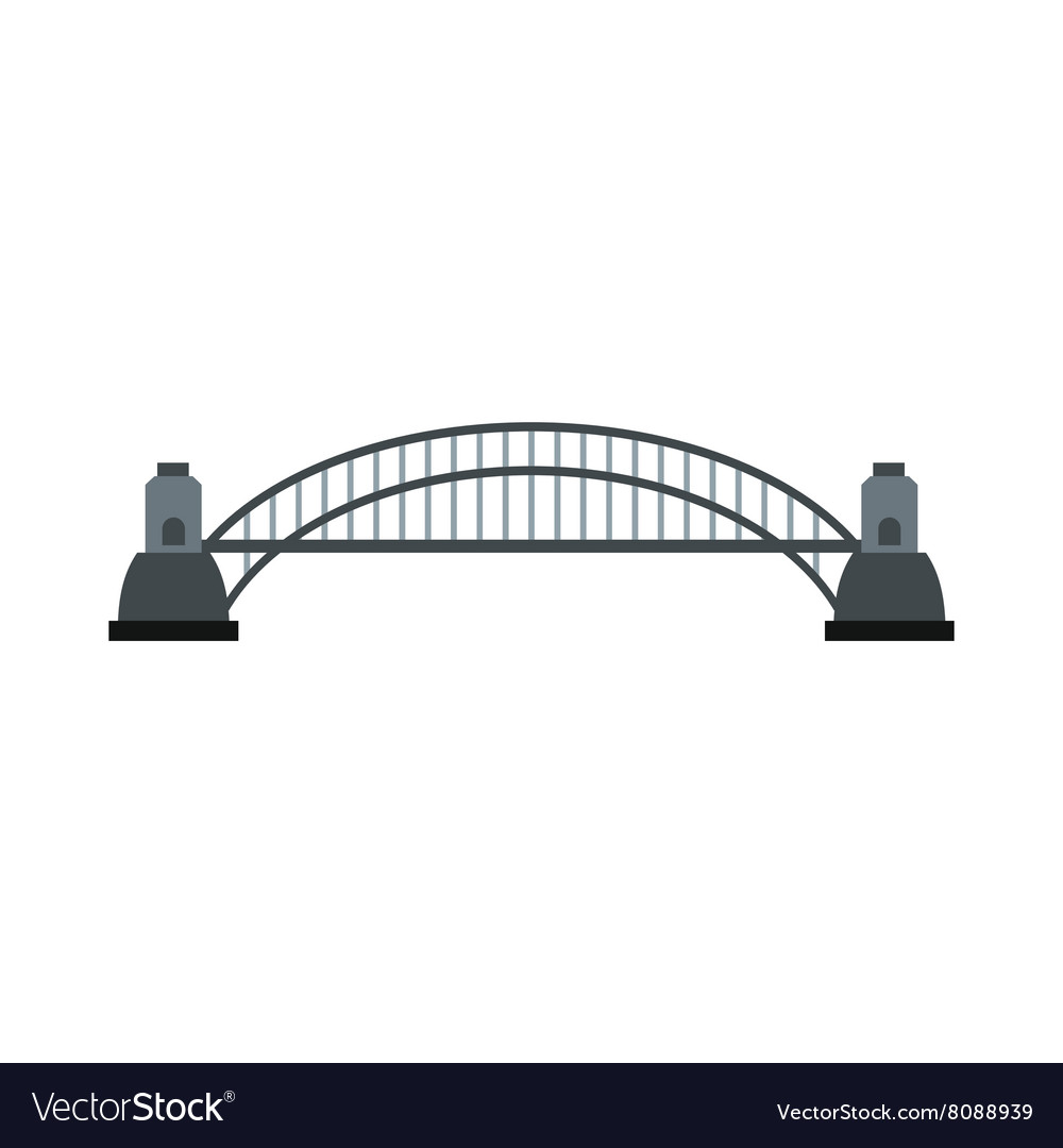 Sydney Harbour Bridge icon flat style