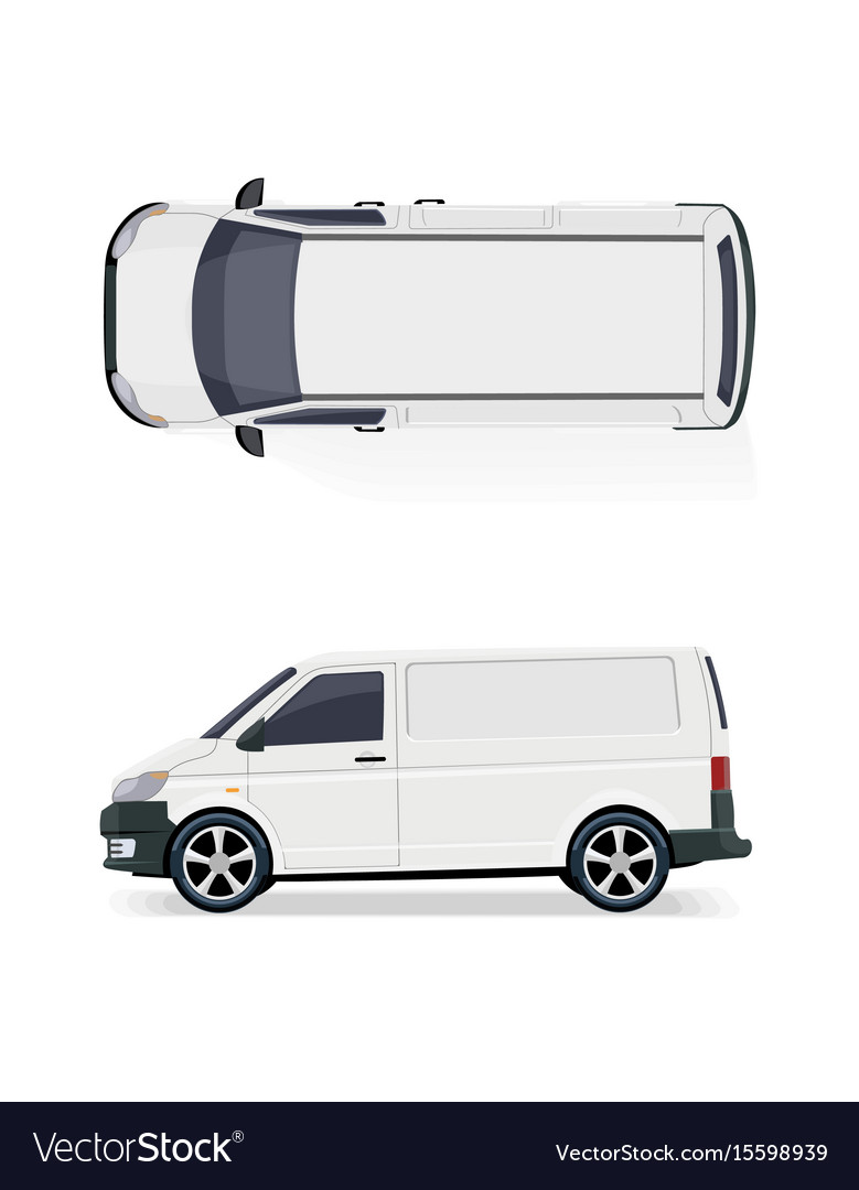 The cargo minibus side view and top view
