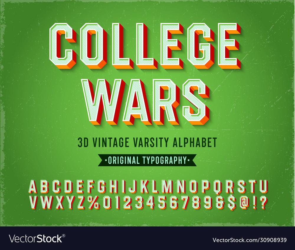 Vintage 3d varsity sport alphabet
