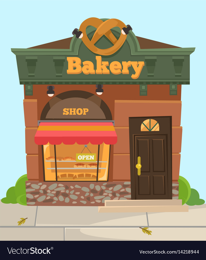 Bakery chocolate sweet city shop front view
