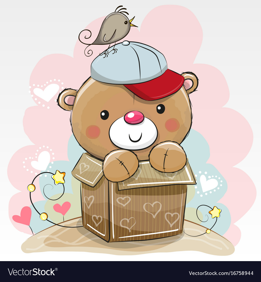 Birthday Card With A Cute Teddy Royalty Free Vector Image