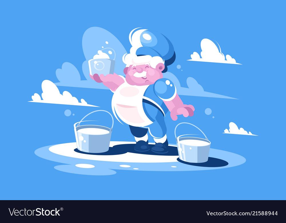 Cheerful milkman with bucket milk