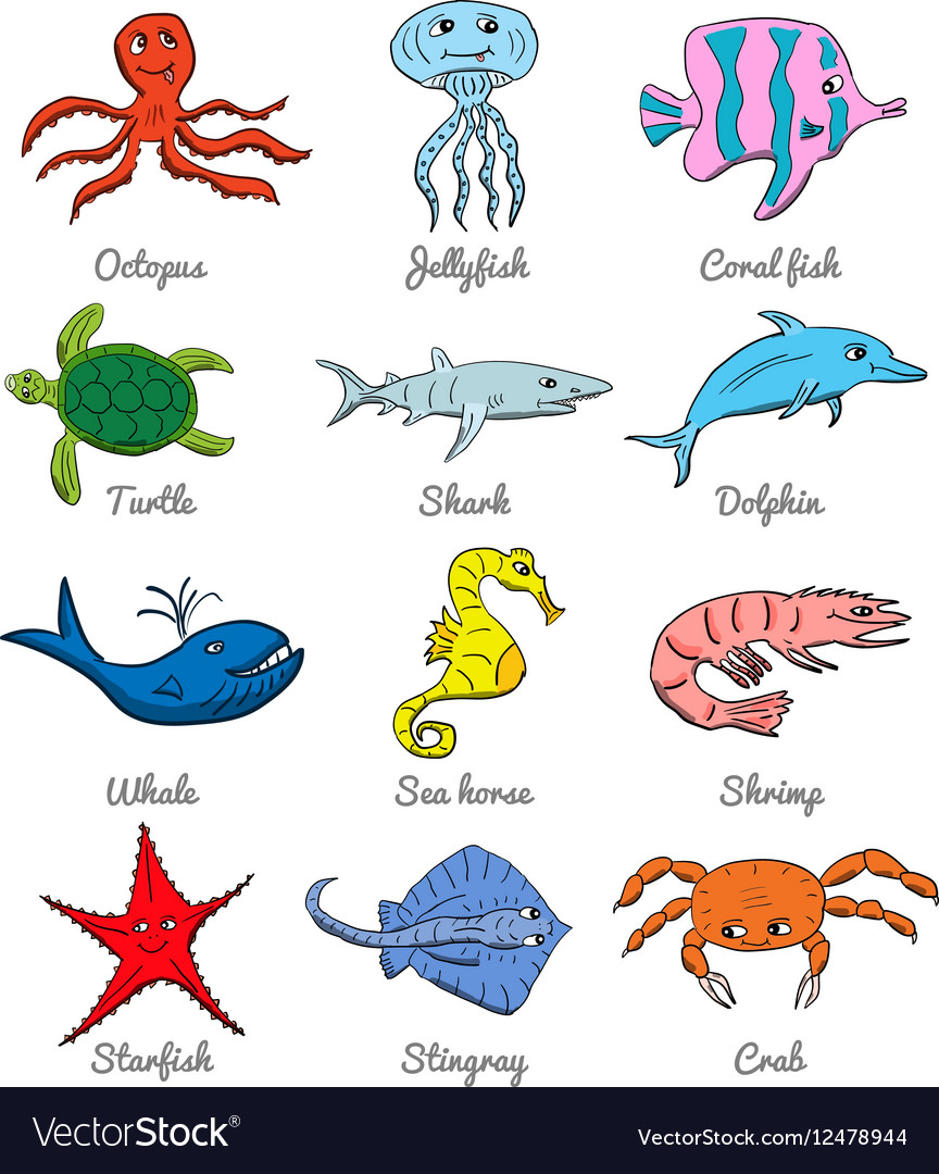Cute Hand Drawn Cartoon Ocean Animals Vector 12478944 on hand clip art
