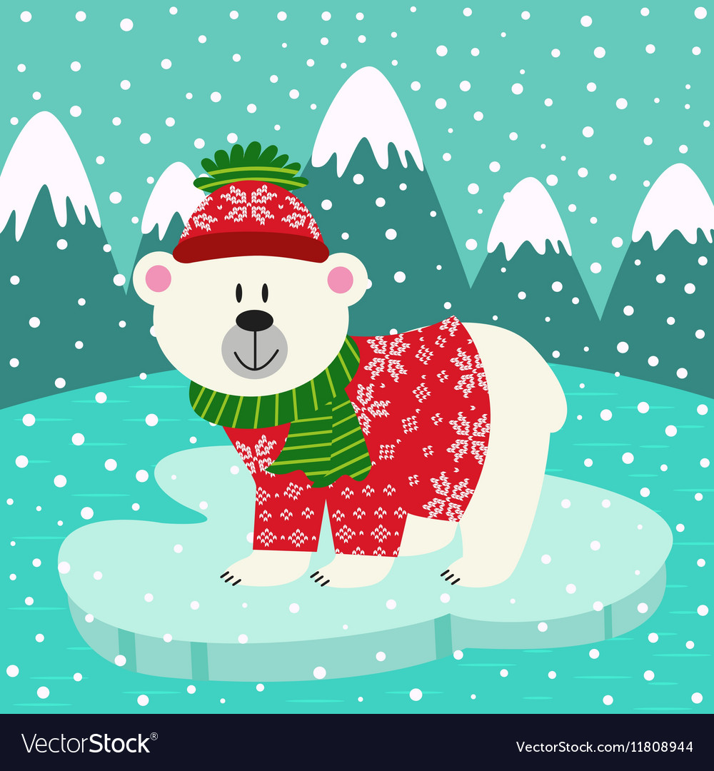 Polar bear in knitted sweater and cap on ice floe