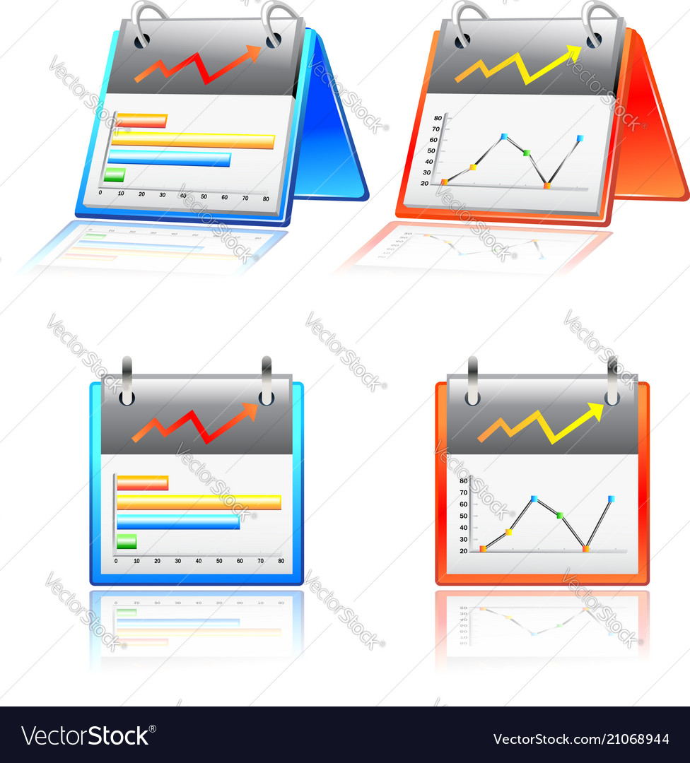 Reports chart graphs icon set