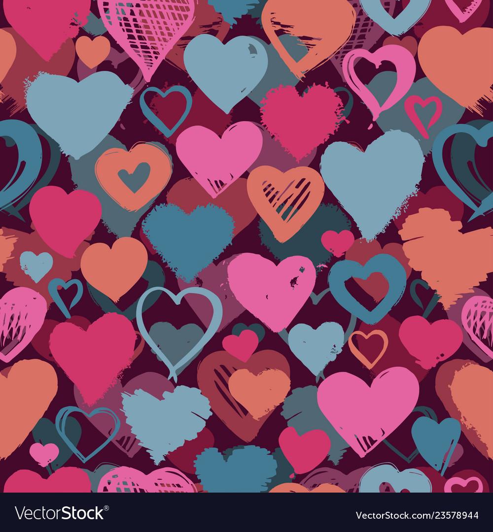 Seamless background hand drawn stylized hearts