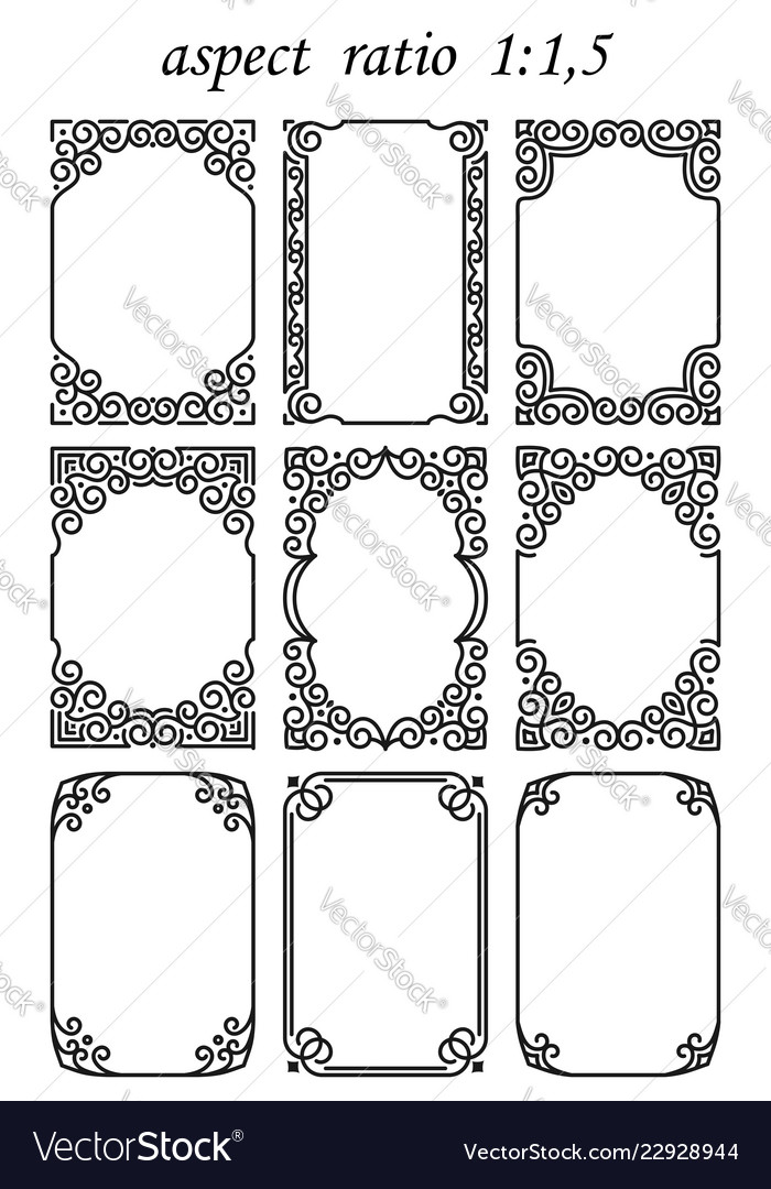 Set of rectangular frames in oriental style