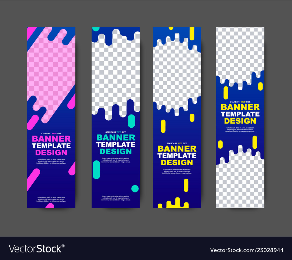 Vertical web template for violet-blue banners