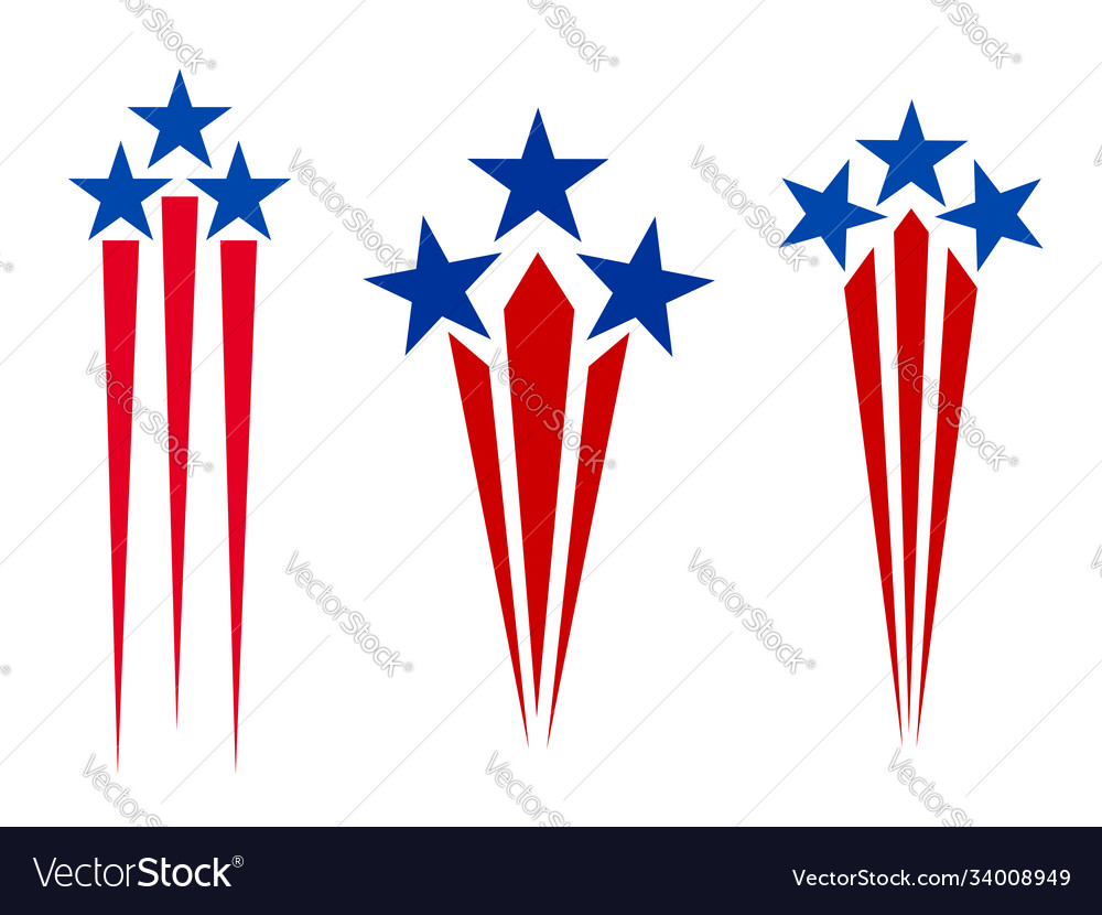 American flag symbolism stars and rays icons set