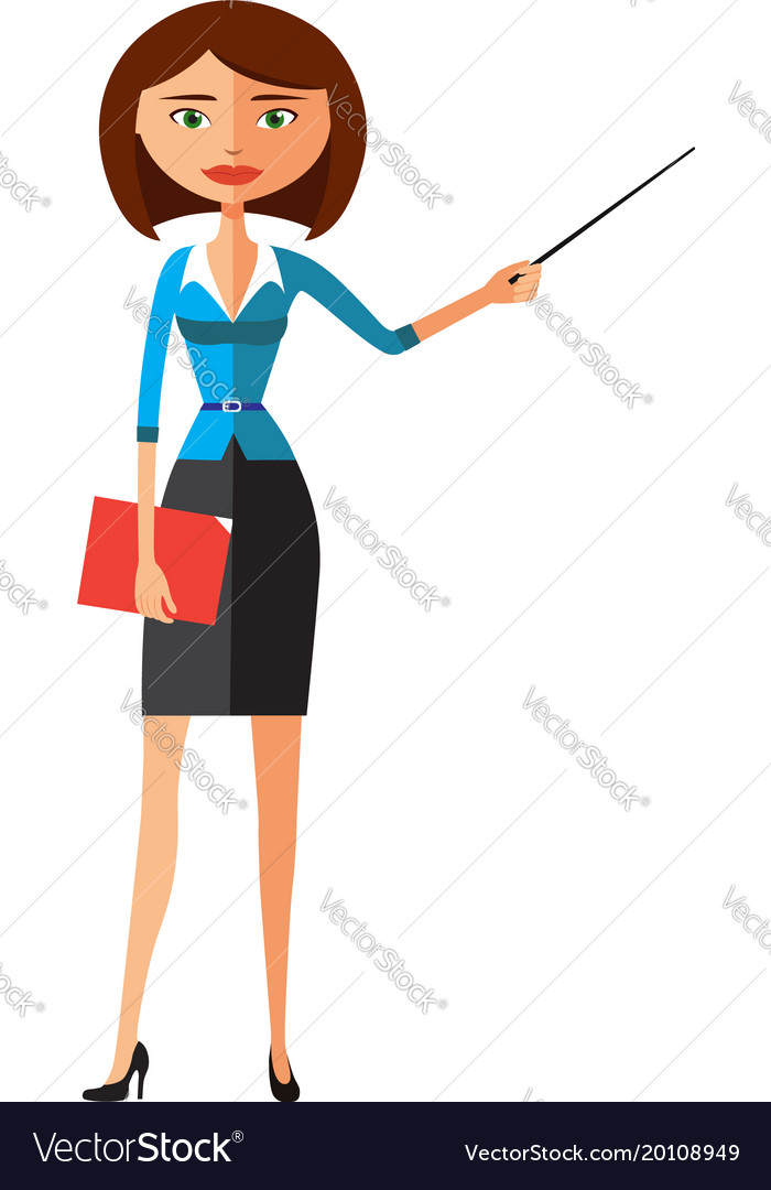 business lady with a pointer woman presenting vector image rh vectorstock com victor woman missing vector woman 1962
