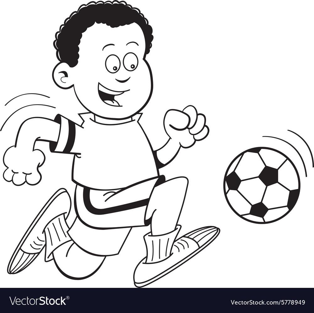 Cartoon African boy playing soccer vector image