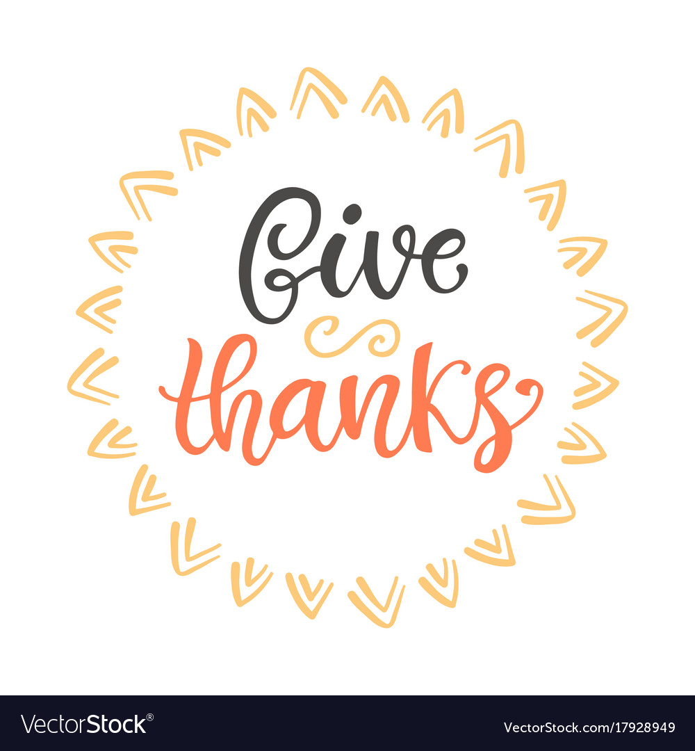 Give thanks thanksgiving day lettering