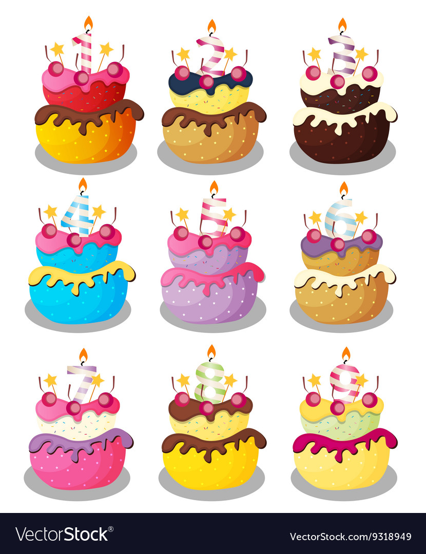 Peachy Happy Birthday Cake With Numbers Set Royalty Free Vector Personalised Birthday Cards Paralily Jamesorg
