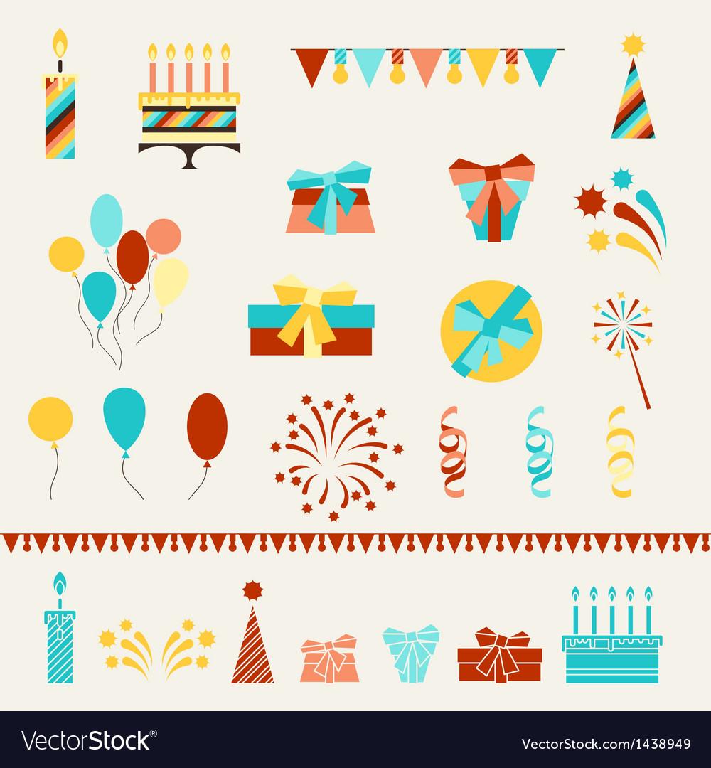 Happy Birthday party icons set