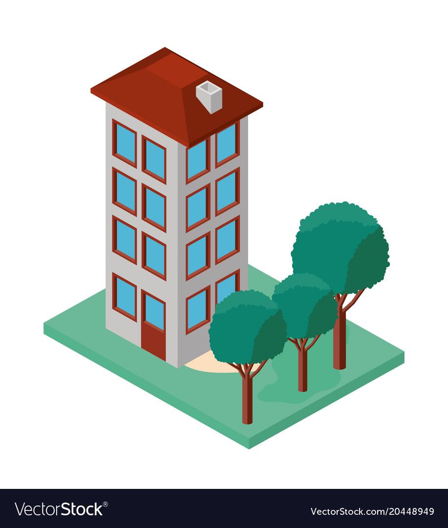 Mini tree and building isometric