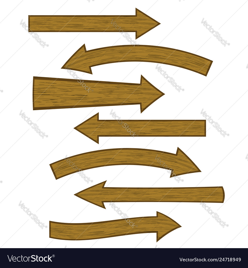 Set of different wooden arrows