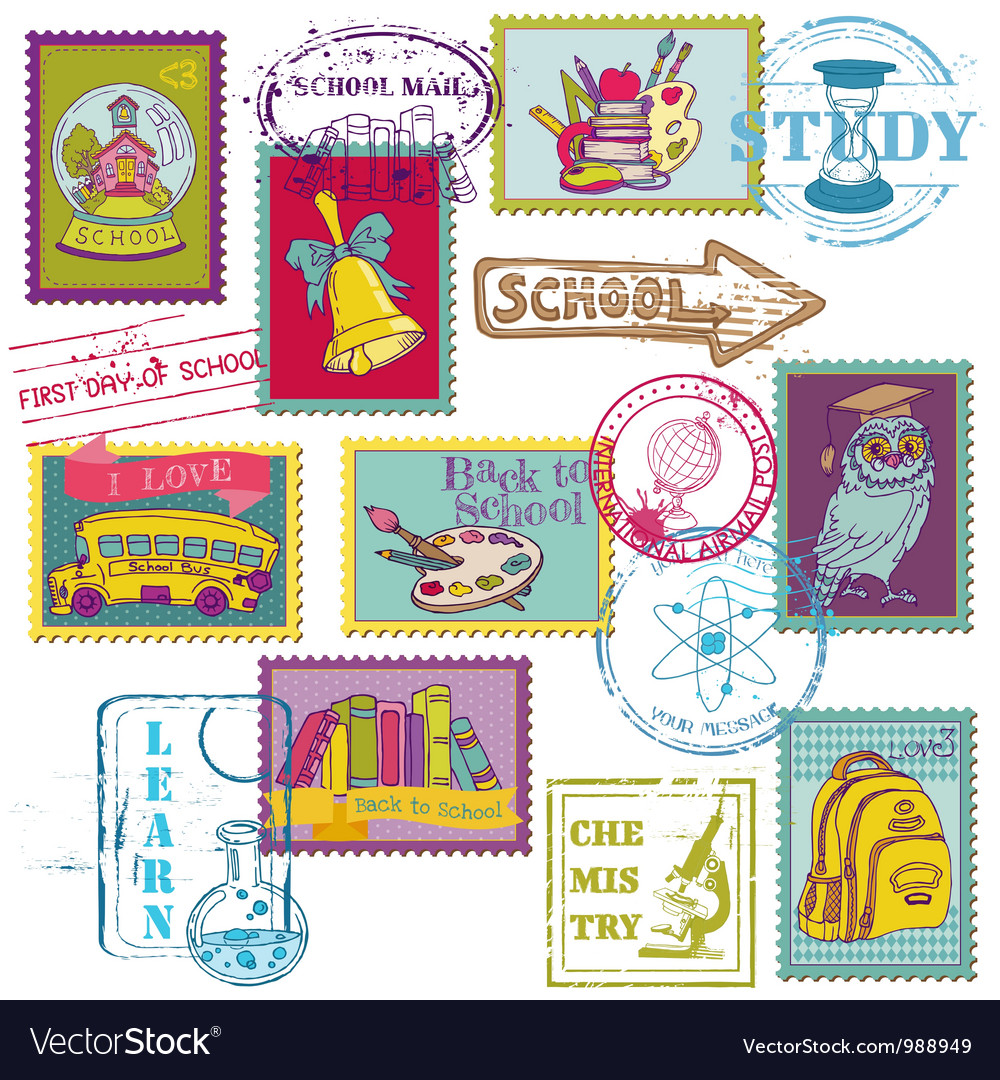 Set of SCHOOL stamps