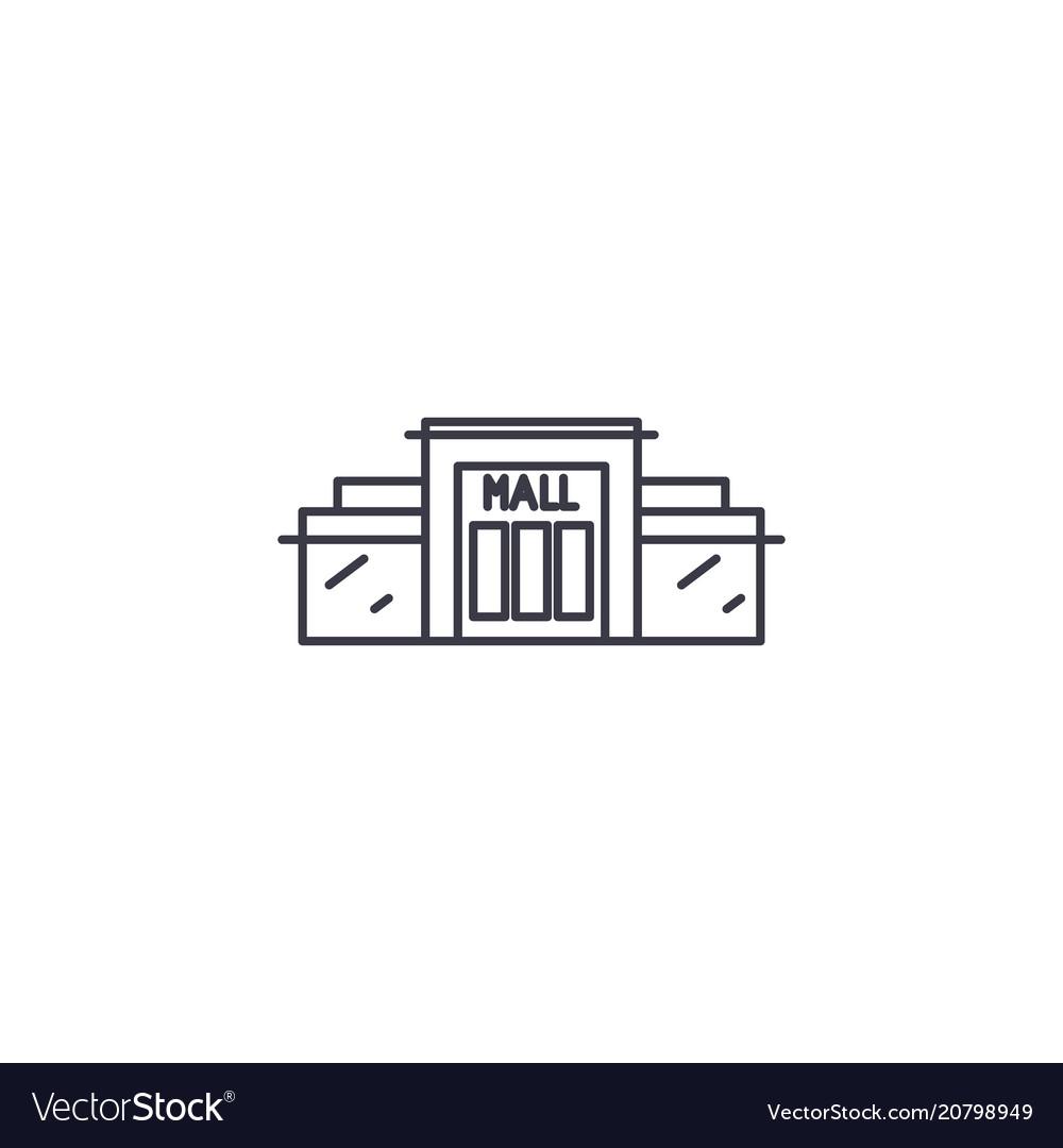 Shopping center line icon sign vector image
