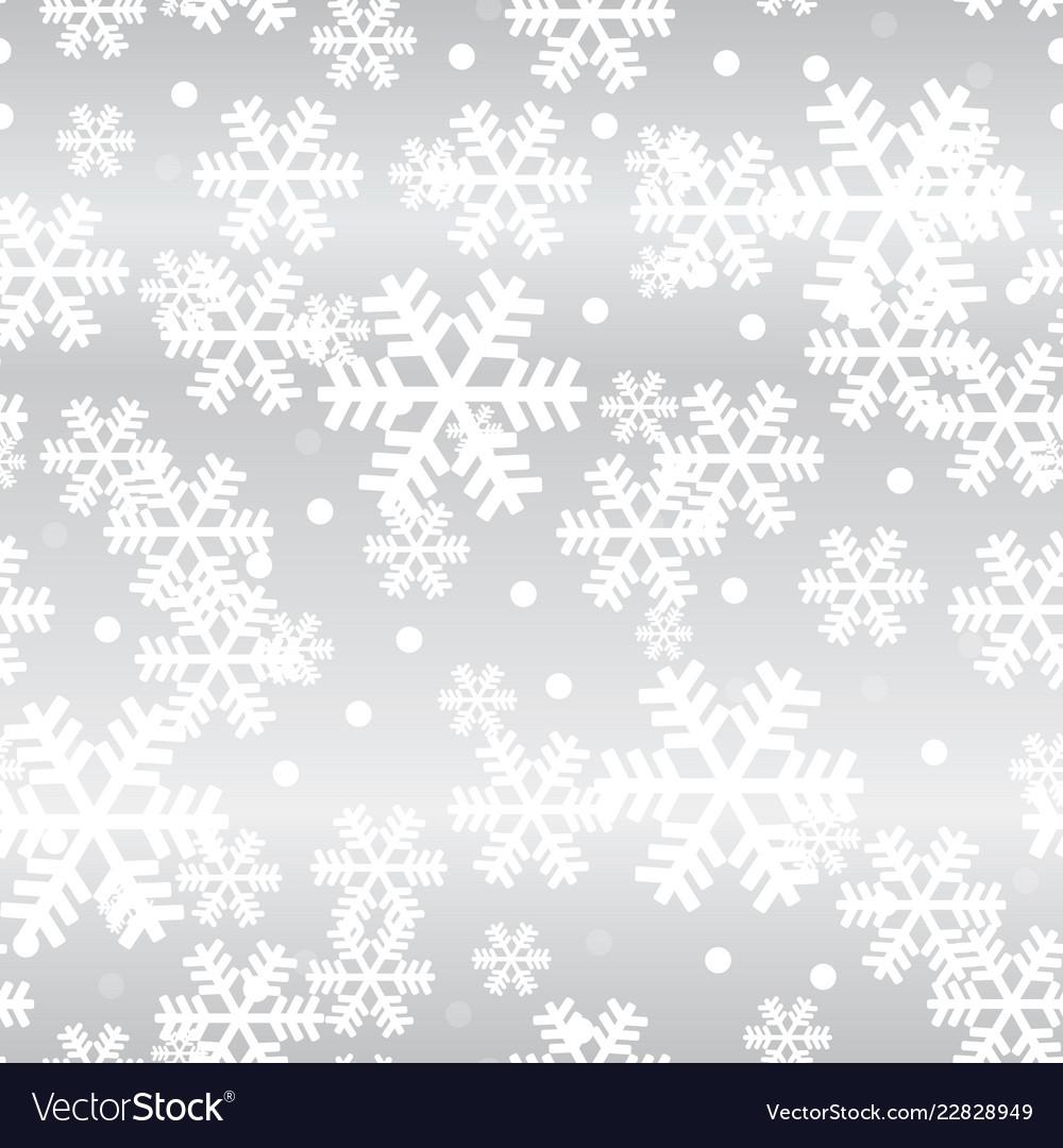 Silver christmas snowflakes seamless pattern