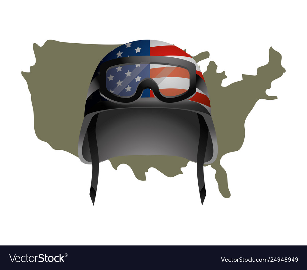 United state map and military helmet