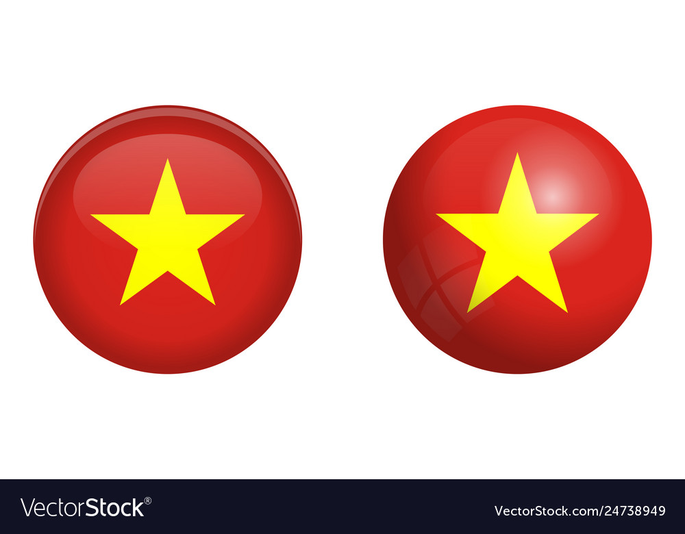 Vietnam Flag Under 3d Dome Button And On Glossy Vector Image