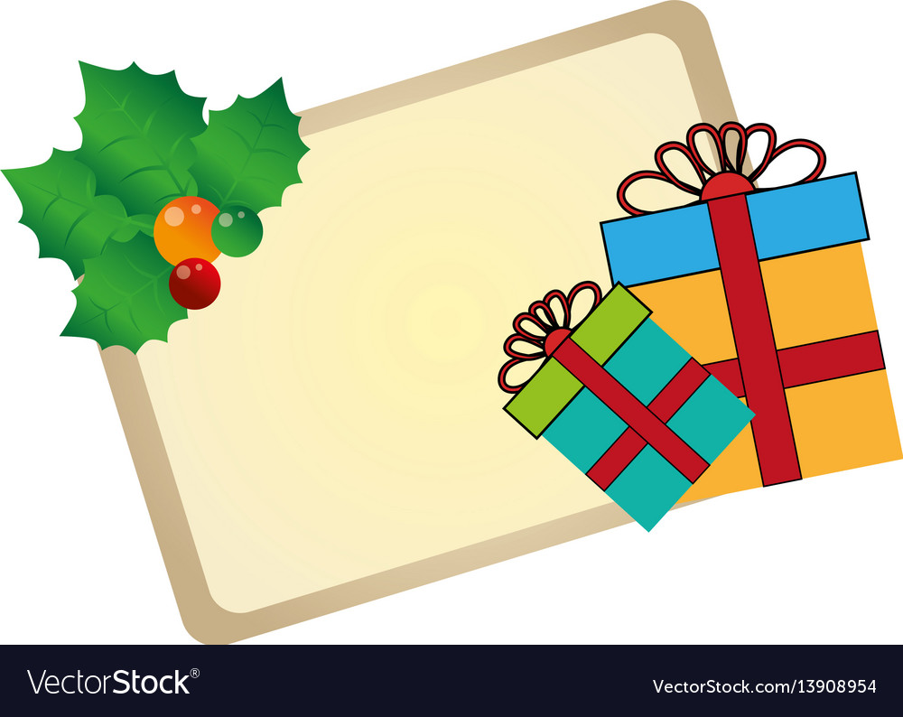 Color christmas card with holly and gift box