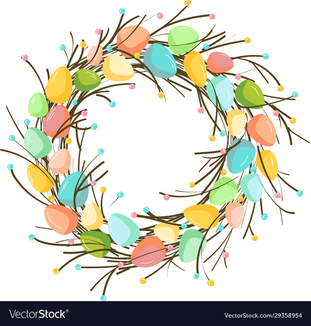 Easter wreath with eggs hand drawn on white