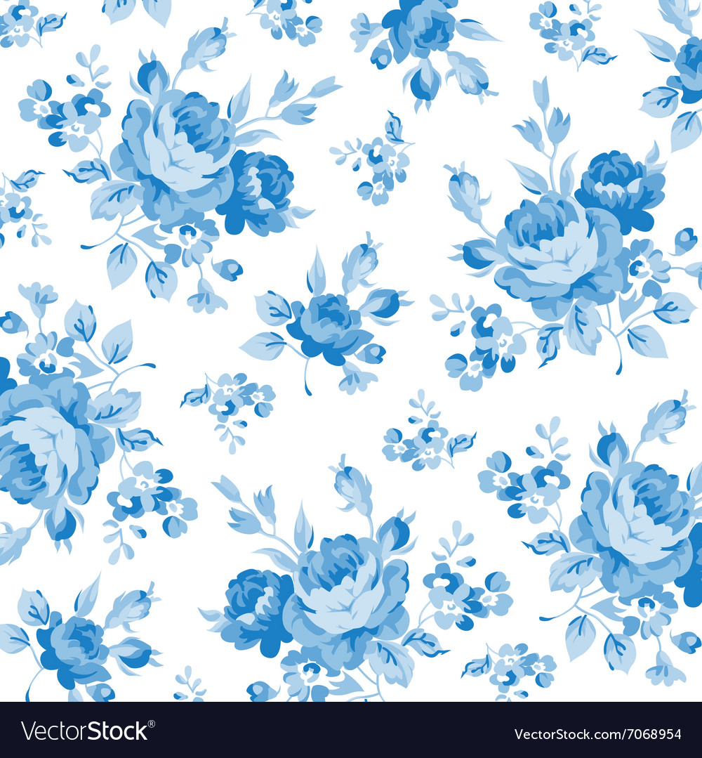 Floral Pattern With Blue Rose Royalty Free Vector Image