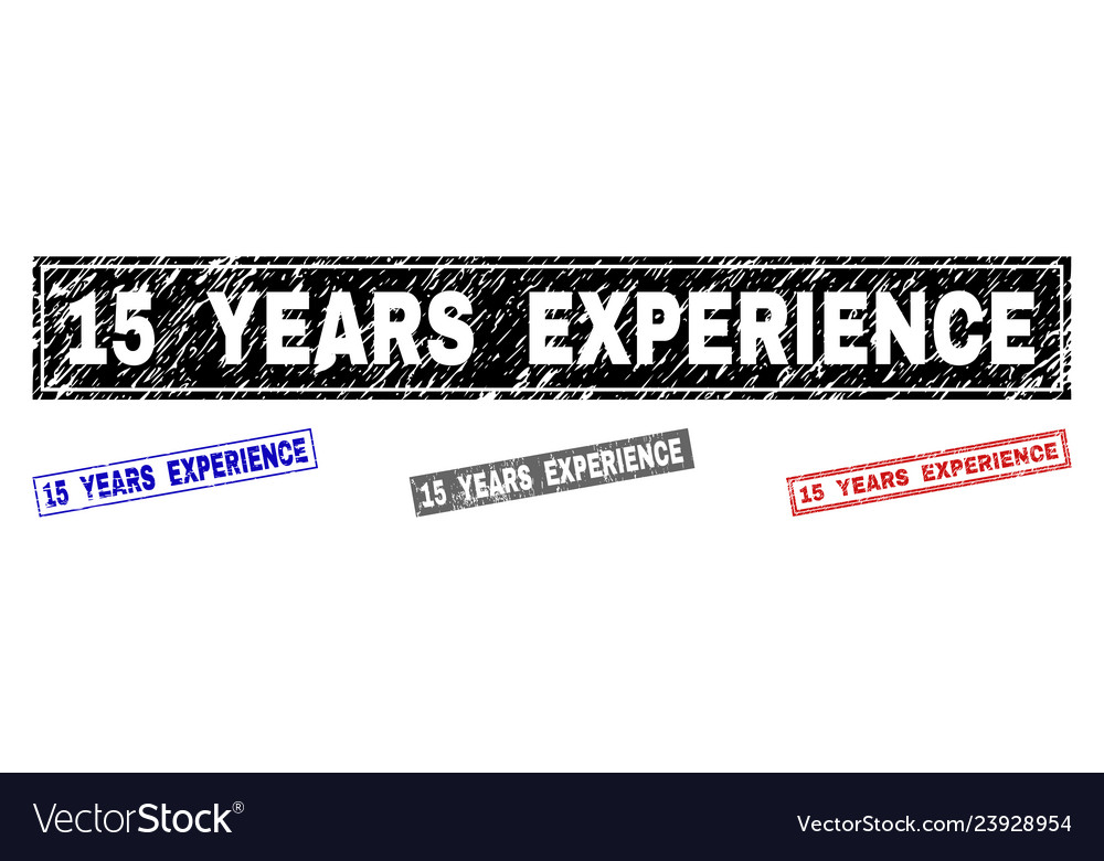 Grunge 15 years experience textured rectangle