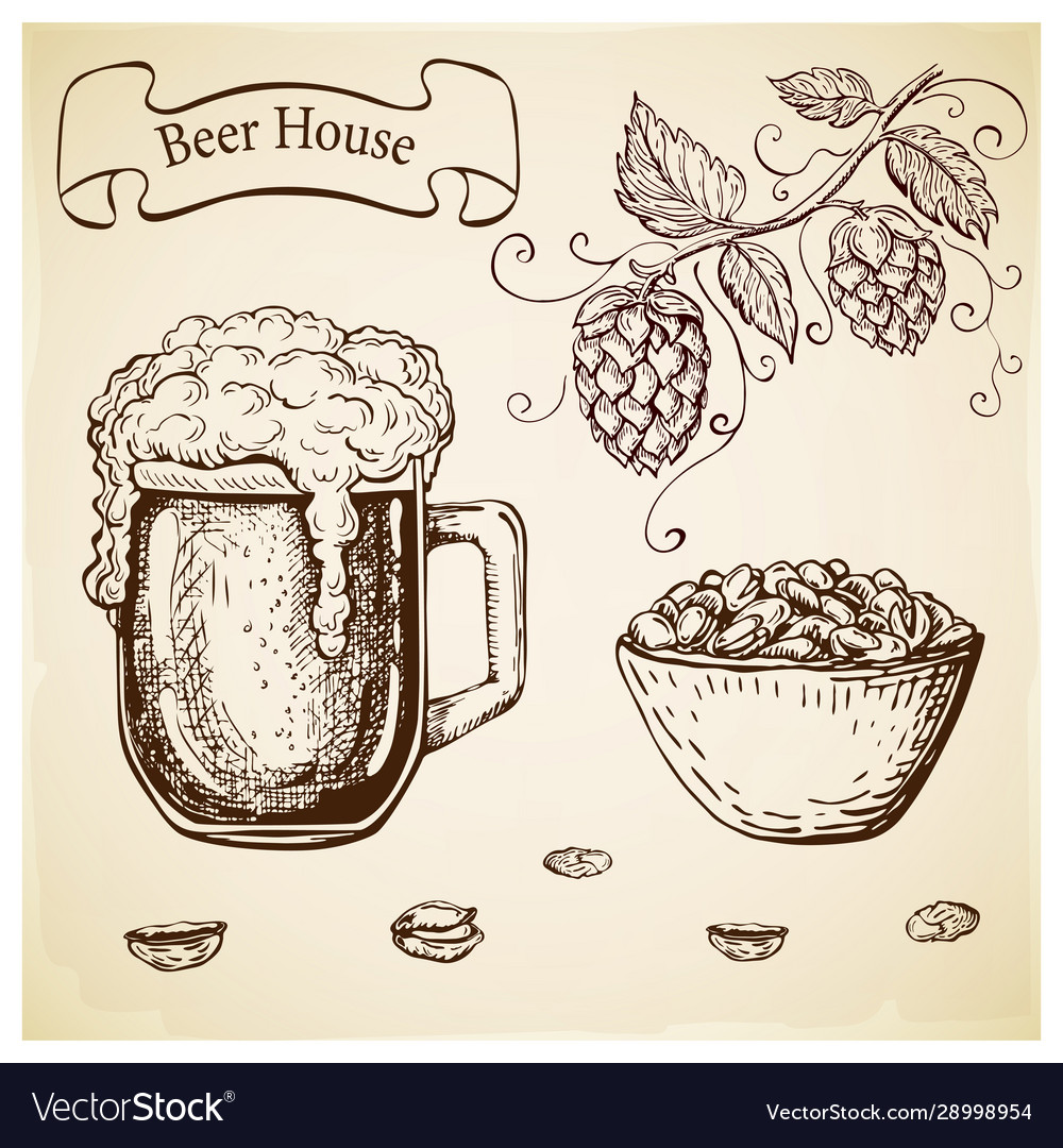 Hand drawn etched beer glass and pistachios