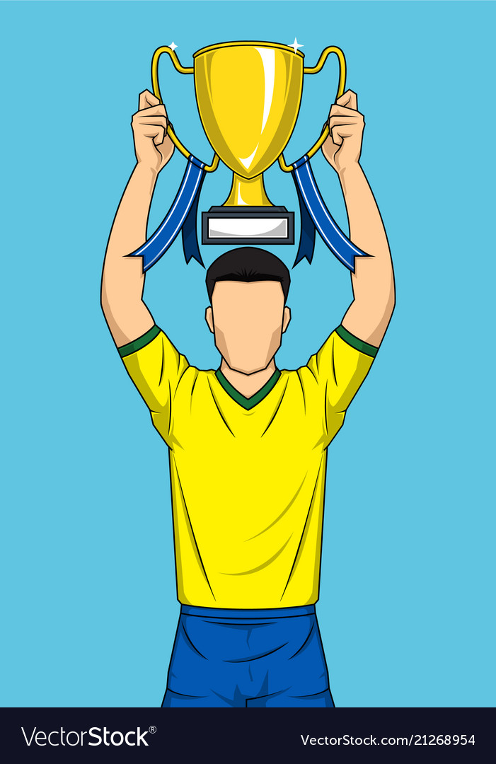 Happy sport player holding gold trophy comic style