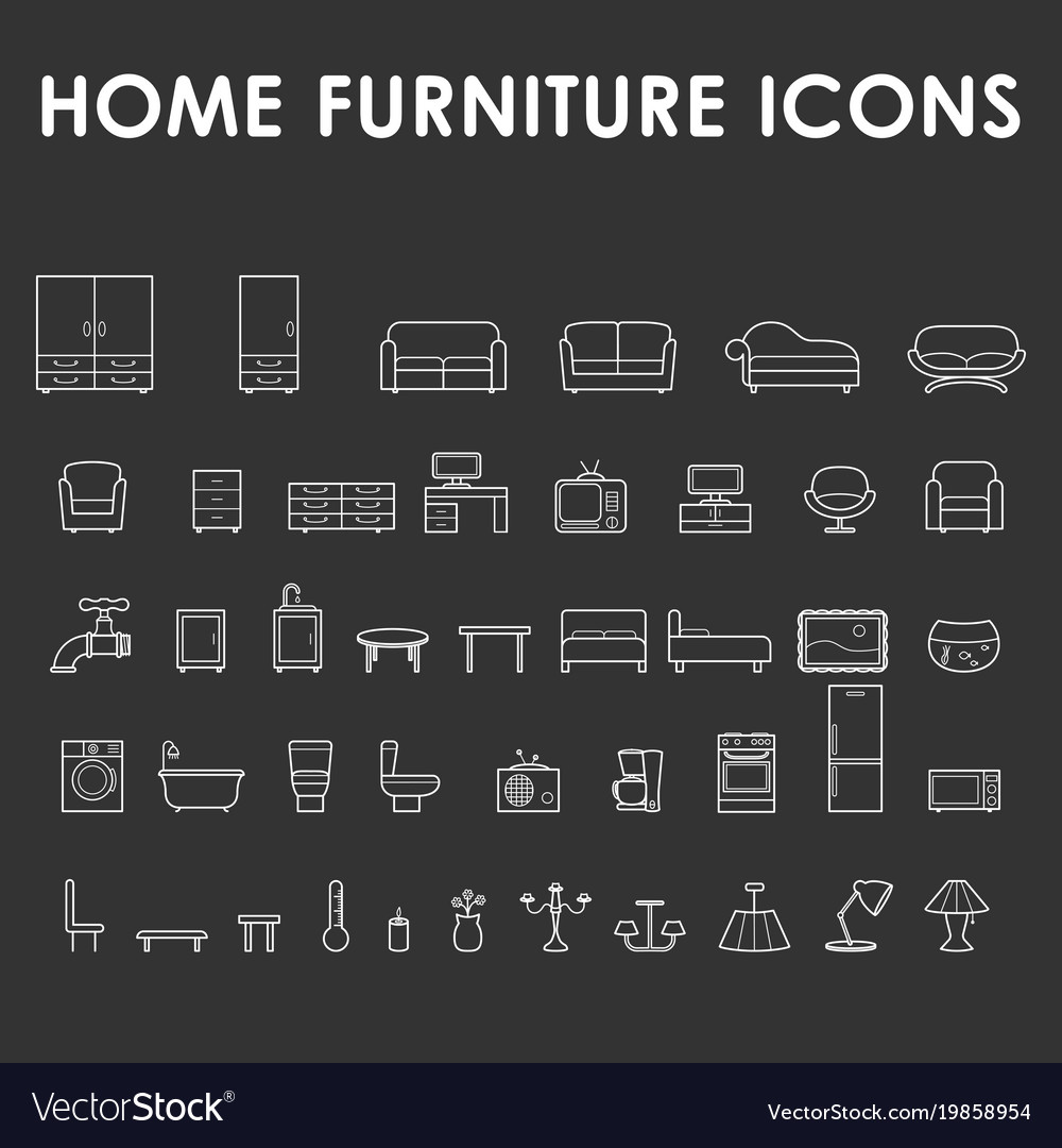 Home furniture outline icons