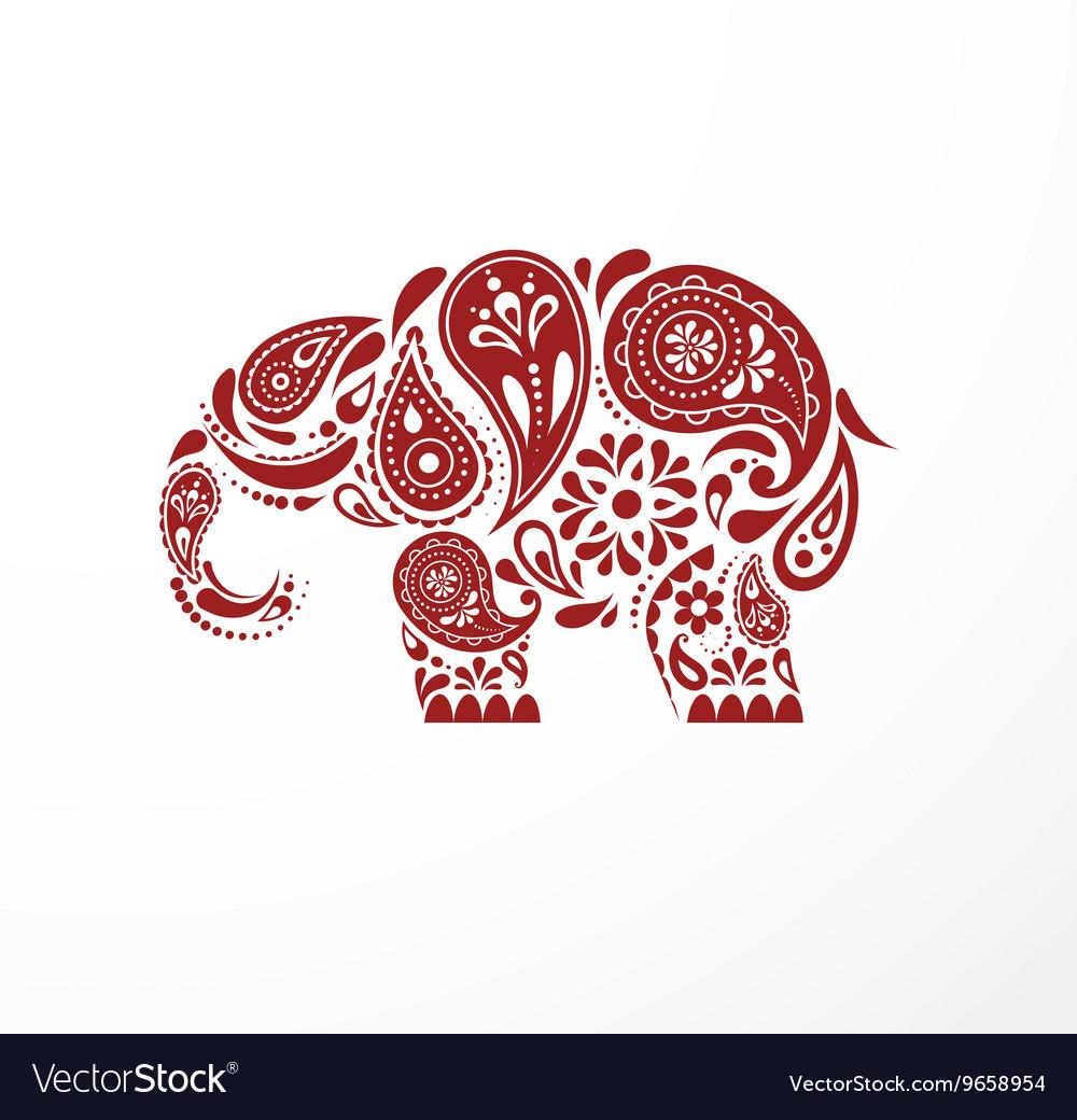 India - parsley patterned elephant indian icon