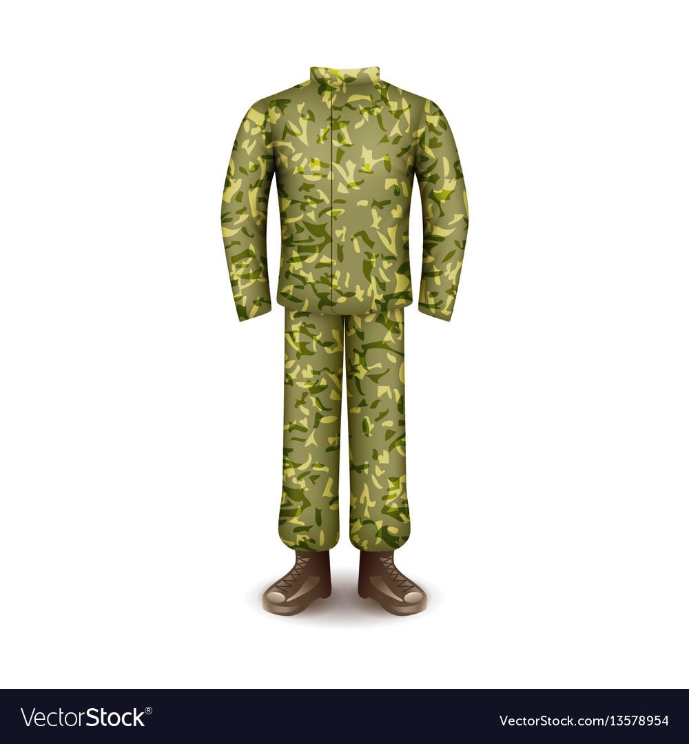 Military uniform isolated on white